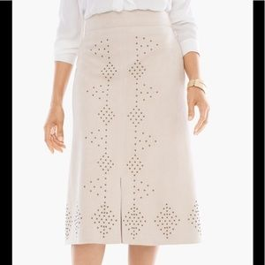 Chico's Faux Suede Studded Tan Skirt Size 2